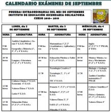 Calendario exámenes de septiembre